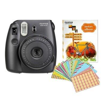 Fujifilm กล้องอินสแตนท์ รุ่น Instax mini 8 (Black) + อัลบั้มรูป 1เล่ม (คละแบบ/สี) + Sticker Frame 10 แผ่น (คละแบบ/สี)