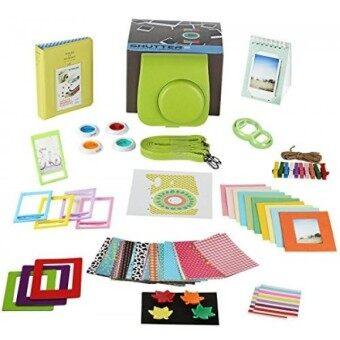 Fujifilm Instax Mini 9 Camera Accessories Bundle 14 PC Kit Includes: LIME Instax Mini Case + Strap 2 Albums Color Filters Selfie lens Magnets + Hanging + Creative Frames 60 stickers Gift Box - intl