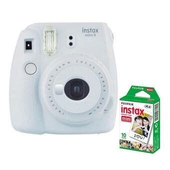 Fujifilm กล้องอินสแตนท์ รุ่น Instax mini 9 (สี Smoky White) +Fujifilm แผ่นฟิล์ม Instax Mini Pack 10 แผ่น