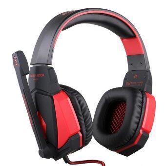 G4000 ชุดหูฟังพร้อมสายสะพายแบบมีสาย USBชุดหูฟังระบบเสียงชุดหูฟังหูฟังชนิดใส่ในหู (สีดำแดง) - intl