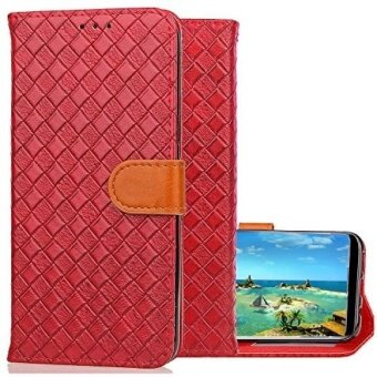 Galaxy S8 Plus Wallet CaseKudex Ultra Slim Folio Flip Stand Shockproof Protective Durable Leather Woven Purse Design Cover Case with Card Holder  Secure Magnetic Closure for Women/Men (Red) - intl