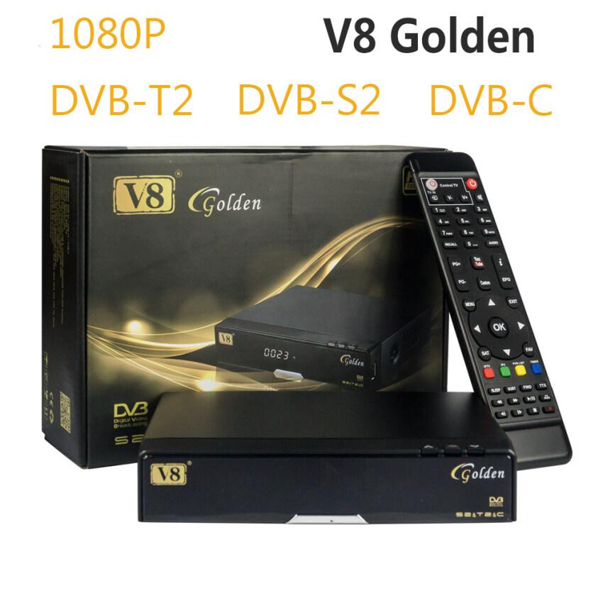[Genuine] V8 Golden DVB-S2+DVB-T2+DVB-C Satellite TV Combo Receiver Box Support PowerVu Biss Key Cccamd Newcamd Youtube Youporn - intl