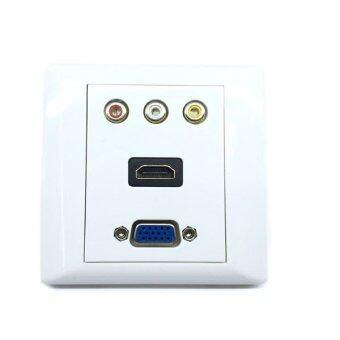 ราคา หน้ากากเต้ารับสาย HDMI+vga+rca full hd outlet WALL SOCKET ติดในผนัง (White)