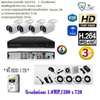 ชุดกล้องวงจรปิด HDTVI ความละเอียด 1 ล้านพิเซล พร้อมกล้อง HDTVI 4 ตัว