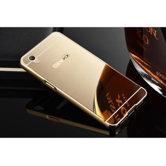 High quality mirror metal frame Back Case Cover For Oppo A37 (gold)- intl