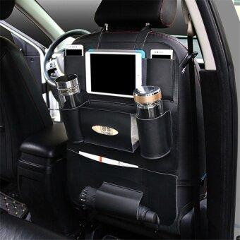 High Quality PU Leather Car Seat Back Organizer Sundries Holder Multi-Pocket Travel Storage Bag Hanger Backseat Organizing Bags Black - intl