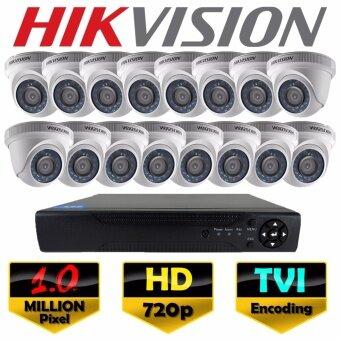 ราคา ชุดกล้องวงจรปิด Hikvision 16CH TVI / HDTVI Kit Set HD DS-2CE56C0T 1.0 MP ล้านพิกเซล กล้อง 16 ตัว โดม HD New EXIR 2017 Model เครื่องบันทึก HD 16CH เลนส์ 3.6mm + ฟรีอะแดปเตอร์ ( DS-2CE56C7T / DS-2CE56C0T-IRP )
