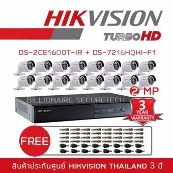 HIKVISION ชุดกล้องวงจรปิด 2 MP DS-7216HQHI-F1 + DS-2CE16D0T-IR*16 (3.6 mm) 'FREE' BNC +DC
