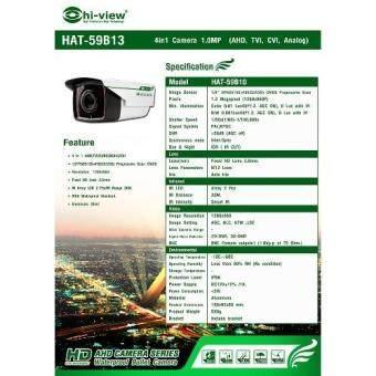 Hiview CCTV กล้องวงจรปิด 4in1 (Analog/AHD/TVI/CVI) 1.3 MP Hiviewรุ่น HAT-59B13 (image 3)