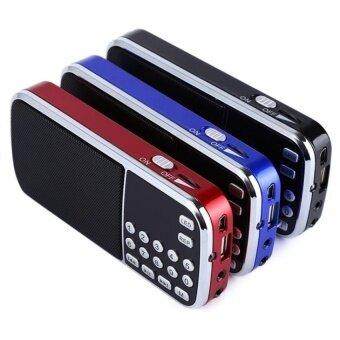 HLL New Arrival Portable Digital Stereo Fm Mini Radio Speaker Musicplayer With Tf Card Usb Aux Input Sound Box Blue Black Red - intl