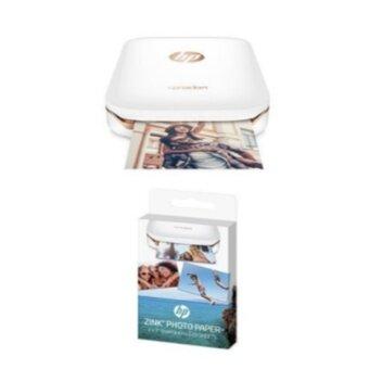 เสนอราคา HP Sprocket Portable Photo Printer (white) with additional 20sheets ZINK Sticky-Backed Photo Paper - intl