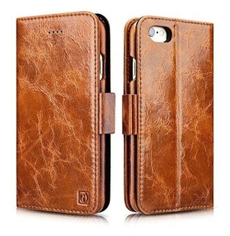 Icarercase Brown Oil Wax Genuine Leather Flip Folio Detachable\nLeather Wallet Case Magnetic Cover with Free Tempered Glass\nProtector for iPhone 7 Plus 5.5\ - intl