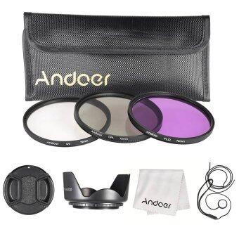 Andoer 72มมชุดกรอง (UV+CPL+FLD)/กระเป๋าถือไนลอน/หมวก/หมวกเลนส์เลนส์กล้อง/เลนส์/กระโปรงผ้าทำความสะอาดเลนส์
