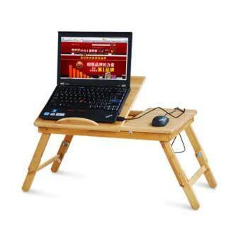 โต๊ะลายไม้พับได้สำหรับโน๊ตบุ๊ค มีพัดลมระบายความร้อนและลิ้นชัก พร้อมปรับระดับสูง ต่ำได้ รุ่น1ใบพัด