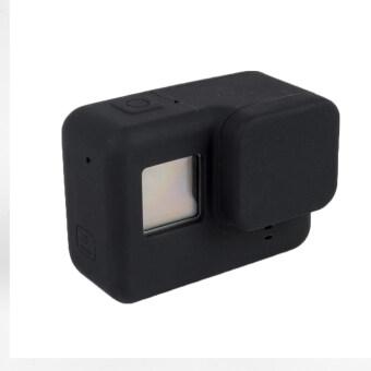 Gopro hero 5 ฝุ่นการป้องกันกรณีเลนส์ครอบซิลิโคนสำหรับ Gopro Hero 5 การกีฬาป้องกันตัวกล้องนิ่มปิดเคส (สีดำ)
