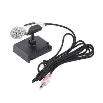 KH ไมโครโฟนจิ๋ว คาราโอเกะ (Mini Microphone Karaoke) เหมาะสำหรับโทรศัพท์มือถือ, แท็บเล็ต, โน๊ตบุ๊ค รุ่นมีขาตั้งไมค์ (สีเงิน)