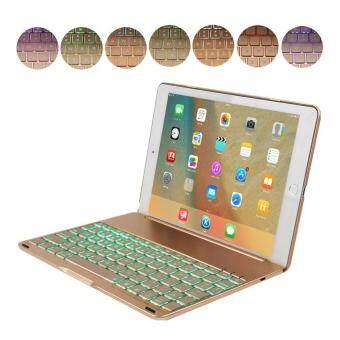 Leegoal iPad Pro 9.7 Air 2 เคสบูธขนหน้าท้องเท่แป้นพิมพ์ปกด้วย led 7 สีปกหนังสือ Backlits บลูทูธคีย์บอร์ดเคสสำหรับ iPad Pro 9.7 Air 2 ทอง