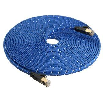 Harga 2pcs 8M Durable Strong CAT-7 CAT7 RJ45 10Gbps Ethernet Flat Cable LAN Network Cord - intl