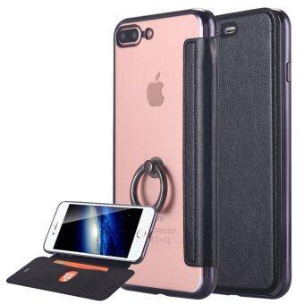 iPhone 7 Plus เคส หนัง pu ultra slim พลิกบัตรแผ่นเสียบเคสใส ๆ ครอบ TPU ย้อนกลับไปในห่วงยึดไว้สำหรับ Apple iPhone 7 Plus-สีดำ