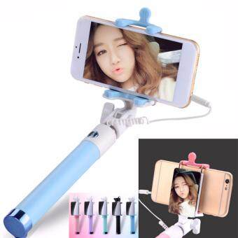 ไม้เซลฟี่รุ่นใหม่ มีกระจกไว้มองสำหรับถ่ายกล้องหลัง พกพาสะดวก (Mirror Monopod Selfie Stick)