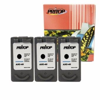 PRITOP Canon Inkjet iP1200/iP1600/iP1700/iP1880/iP2580/MP145/MP150/MP160/MP228/MP450/MP460/MP476/MX308/MX318/iP1980 ใช้ตลับหมึกอิงค์เทียบเท่า รุ่น 40/PG40/PG 40/PG-40 Pritop จำนวน3ตลับ