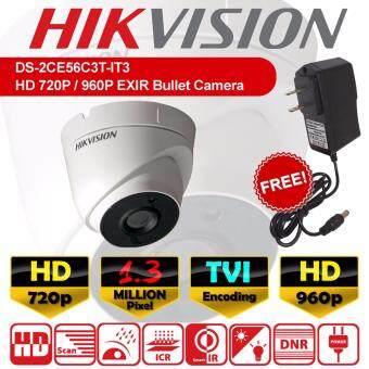 DS-2CE56C3T-IT3 CCTV กล้องวงจรปิด โดม HD 1.3 MP ล้านพิกเซล EXIR แบบใหม่ 2017 กล้อง 720p / 960p เลนส์ 3.6mm + ฟรีอะแดปเตอร์ ( DS-2CE56C0T-IR / DS-2CE56C0T-IT3 )