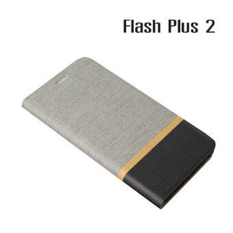 Alcatel Case เคสฝาพับหนัง PVC มีช่องใส่บัตร Flash Plus 2 (สีเทา)