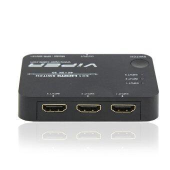 VIPER HDMI SWITCH อุปกรณ์สลับสัญญาณHDMI 3อุปกรณ์ ออก1จอ รุ่น VPR-SW3x1 - Black