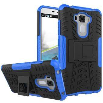 "Harga TPU/PC Dual Layer Case Hybrid Tough Rugged Armor Kickstand Cover for Asus Zenfone 3 Laser ZC551KL 5.5"" (Blue) - intl"
