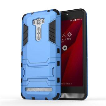 Harga PC + Silicone Dual-Layer Bumper Case with Kickstand for Asus Zenfone 2 Laser ZE601KL 6.0 inch (Blue) - intl