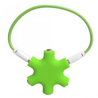 DT แจ็คต่อเพิ่มหูฟัง 6 ช่อง 3.5มม. (สีเขียว)