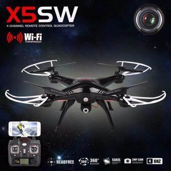 Syma โดรน4ใบพัด บินถ่ายภาพ ส่งภาพเข้ามือถือผ่าน wifi Model: X5SW With Wifi FPV HD Camera 2.4G 4CH 6Axis Headless Mode RC Quadcopter (Black)