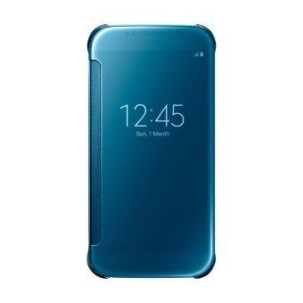 2558 กระจกใสดูเคสหรูสำหรับ Galaxy S6 ดีดฝาโทรศัพท์กรณีฉลาดสำหรับ Samsung Galaxy S6 G9200 (สีน้ำเงิน)