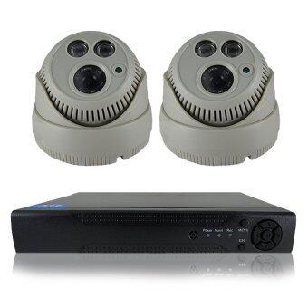 ชุดกล้องวงจรปิดกล้อง 1200 TVL 2ตัว ทรงกระบอก 1.0 ล้านพิกเซล HD เครื่องบันทึก 4 ช่อง