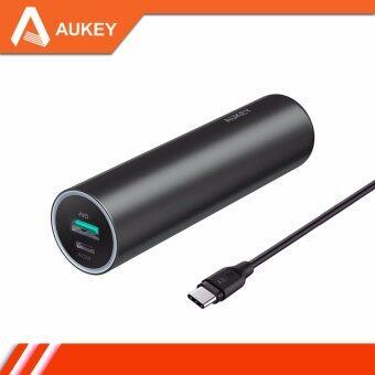 Aukey 5000 mAh Slim Power Bank with USB Type-C Port แบตเตอรี่สำรองแบบ Slim ความจุ 5000 mAh แบบมีช่อง USB Type-C พร้อมสาย รุ่น PB-Y5