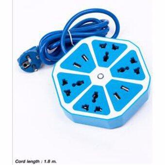 ปลั๊กไฟพ่วง ปลั๊กพ่วง รางปลั๊กไฟทรงหกเหลี่ยมพร้อมพอร์ท USB : สีฟ้า