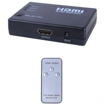HDMI SWITCH MINI 3 ออก 1 HDMI 1.4 4K x 2K รองรับ 3 D รุ่น RM-301 (มีรีโมท) ดำ