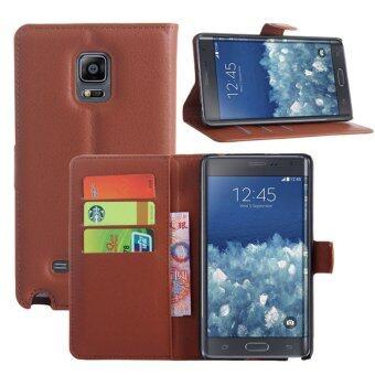 ปกหนังสำหรับ Samsung Galaxy Note Edge (สีน้ำตาล)