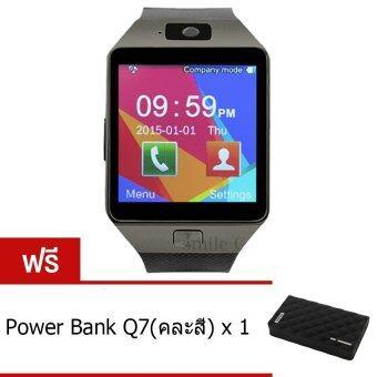 smile C นาฬิกาโทรศัพท์ Smart Watch รุ่น DZ09 Phone Watch (Black) ฟรี Power Bank Q7(คละสี)