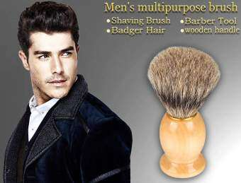 Harga Happycat Men Shaving Brush Badger Hair Wooden Handle Home Use Barber Tool (As Picture Show ()