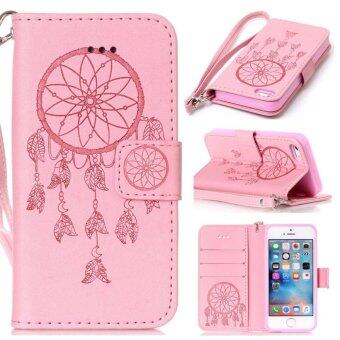 Harga Case For iPhone SE 5SE 5 5S Dream Catcher PU Wallet Card Slots Lanyard Flip Cover - Pink - intl