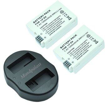 Mondpalast 2x Replacement Li-ion battery LP-E8 LPE8 lpe8 1200mAh + 1x USB Dual Battery Charger for Canon EOS 550D 600D 650D 700D Kiss X4 X5 X6 Canon EOS ...