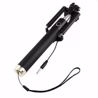 Monopod Selfie Stick ไม้เซลฟี่สีดำพร้อมตัวกดถ่ายรูปในตัว (ปุ่มสีทอง)