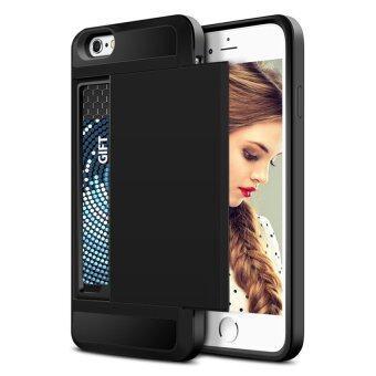 ช่องเสียบบัตรเครดิต Wallet เกราะ เคส Case for iphone 5C (ดำ) - intl