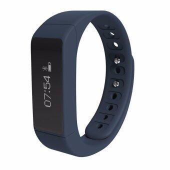 I5 สร้อยข้อมือเท่แถมบลูทูธ 4.0 Smartband ออกกำลังกายสุขภาพติดตามหน้าจอสัมผัสกันน้ำหลับหน้าจอสายรัดข้อมือนาฬิกาอัจฉริยะสำหรับ Android IOS (สีน้ำเงิน)