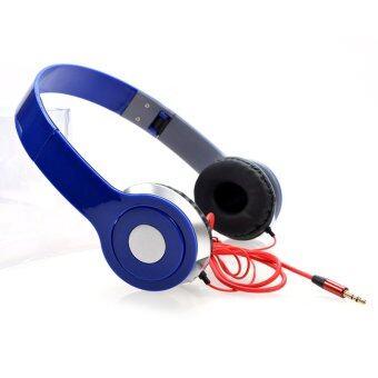YBC ทุ้มต่ำหูฟังสเตอริโอหูโทรศัพท์พับสำหรับ iPhone 6/6s Plus พีซีสีน้ำเงิน