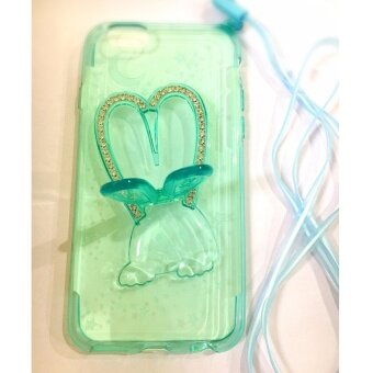 เคส iphone6s ฝาหลังรูปกระต่ายสีเขียวใสหูกระต่ายตั้งได้