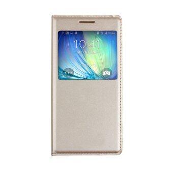 ดูหนังหน้าต่างลักฝาฟลิปสำหรับ Samsung Galaxy A7 (ทอง)
