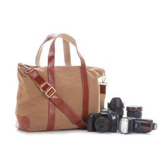 SANCHATTHAI Camera Bag V1.2 (KAKI) กระเป๋ากล้อง สัญชาติไทย ผ้าแคนวาส หนังแท้