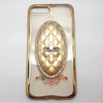 SHENGO Fashion case shengo เคสซิลิโคนนิ่ม สำหรับ iPhone 7 plus ขอบข้างเป็นเพชร มาพร้อมแหวน ใช้งานสะดวก (สีทอง)